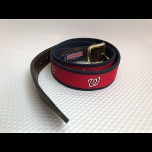 Washington NATIONALS W Belt Sz 38 Nats RED Leather